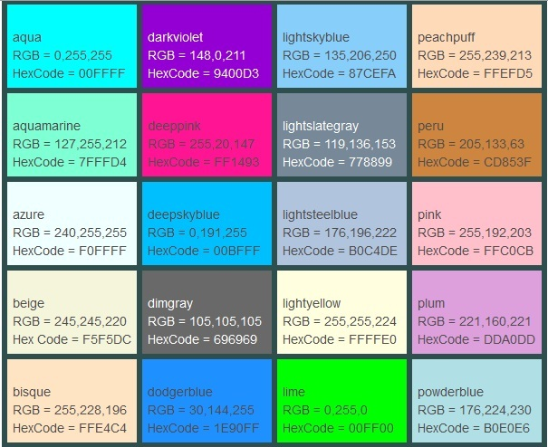 css color codes - 28 images - hex color codes, html color